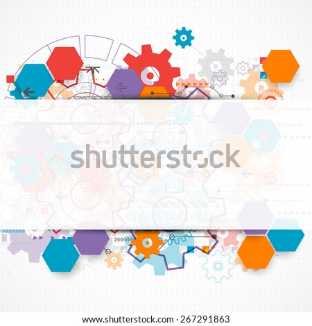 Abstract technological background with cogwheels. Vector - stock vector