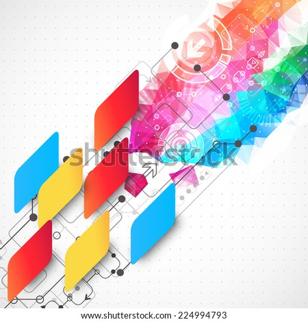 Abstract technological business background with color shapes - stock vector