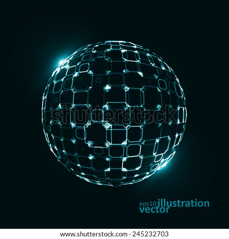 Abstract technological vector background, 3d sphere, light lines Illustrations - stock vector