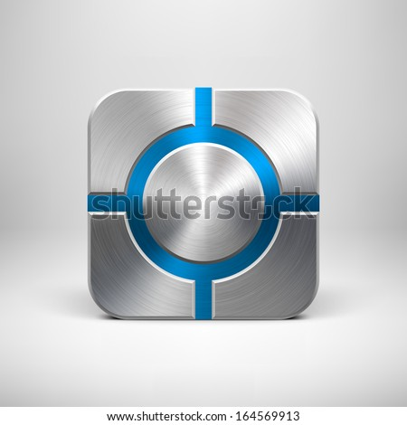 Abstract technology app icon, button template with blue (dark red) metal texture (chrome, silver, steel), realistic shadow and light background for user interfaces (UI) and applications (apps). - stock vector