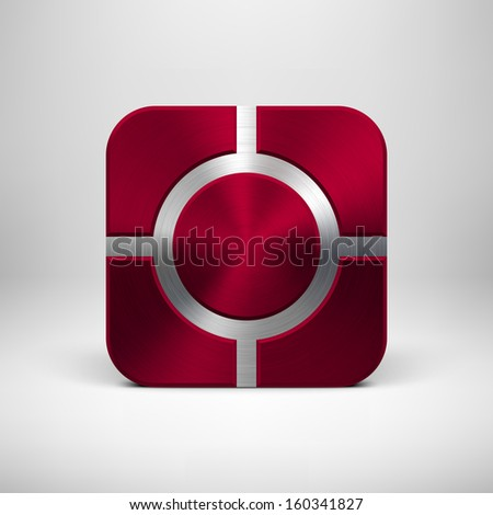 Abstract technology app icon, button template with maroon (dark red) metal texture (chrome, silver, steel), realistic shadow and light background for user interfaces (UI) and applications (apps). - stock vector