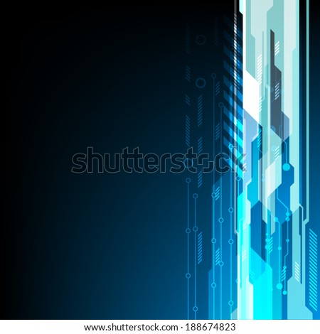 abstract technology background and electric line vector illustration - stock vector