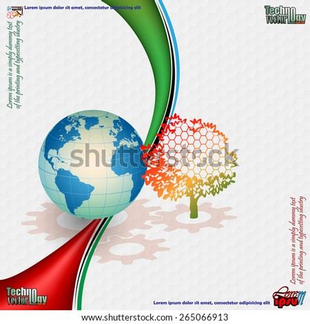 Abstract technology background;Cogwheels projection under globe; Earth globe behind  colorful tree; Hexagonal pattern background.  - stock vector