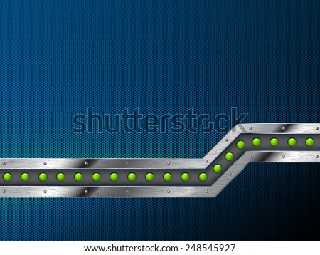 Abstract technology background design with grunge metallic bar and green leds - stock vector