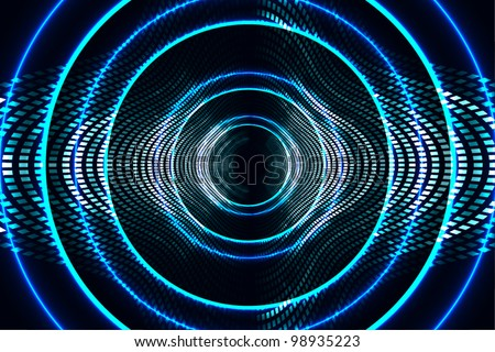 abstract technology background (digital art theme) radio waves, frequency, wi-fi, speaker, etc. - stock vector