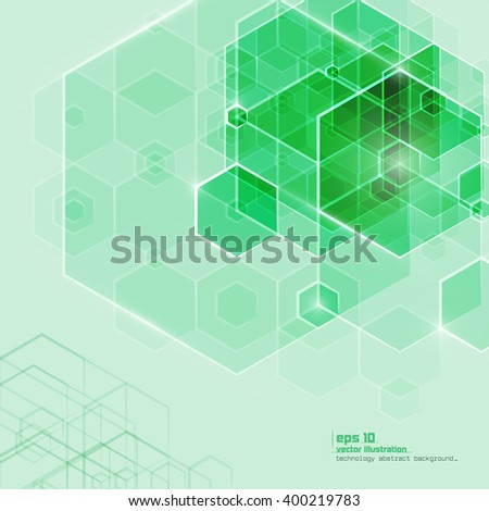 Abstract technology background. Lowpoly vector illustration. Used effect transparency layers of lights and shapes - stock vector