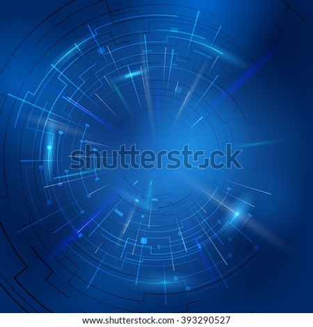 Abstract technology background of circular lines and rays. Modern blue backdrop with light effects. Vector illustration for digital industry, hi-tech, science, engineering, computer systems, etc - stock vector