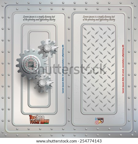 Abstract technology background;Processor Chip attached to metallic device nailed to cogwheels with screws and scratched steel boards tied together with many rivets.  - stock vector
