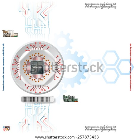 Abstract technology background;Processor Chip attached to white device connected with circuit board; White three dimension machinery printed with circuits.  - stock vector