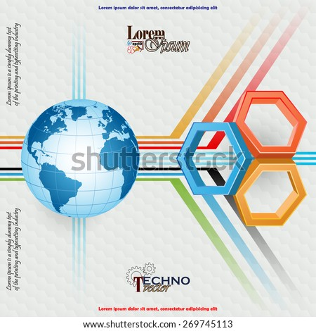 Abstract technology background; Three dimensions hexagons and Earth globe on geometric linear design; Hexagonal pattern background.  - stock vector