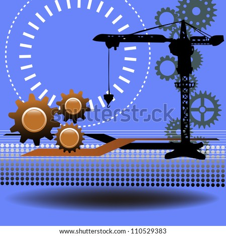 Abstract technology background with brown gears, black crane and various elements - stock vector