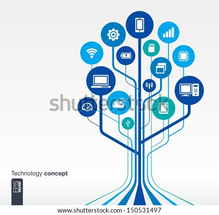 Abstract technology background with lines, circles and icons. Growth tree (circuit) concept with mobile phone, technology, laptop, cloud computing, usb, pad and router icons. Vector illustration. - stock vector
