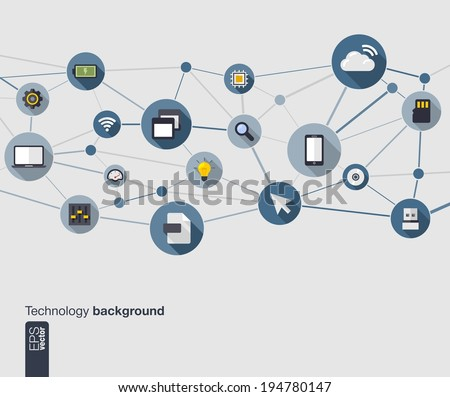 Abstract technology background with lines, connected circles and flat icons. Network concept with mobile phone, internet, cloud computing, circuit , usb, pad and computer icons. Vector illustration. - stock vector
