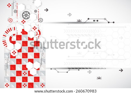 Abstract technology background with red squares and elements. Vector - stock vector