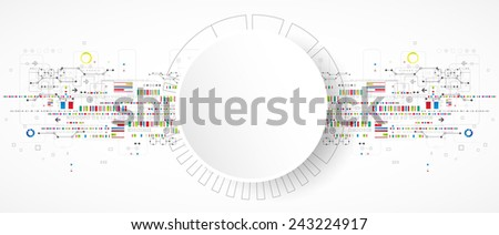 Abstract technology background with various technological elements - stock vector