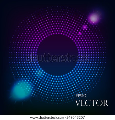 Abstract Technology Blue Circles Background - stock vector
