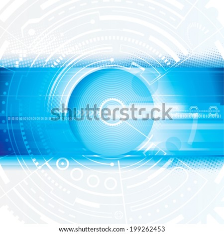 Abstract technology blue digital background. Vector. - stock vector