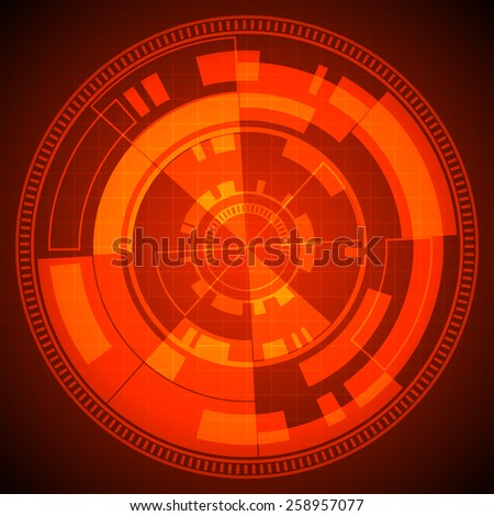 abstract technology circles and grid on red background (vector) - stock vector