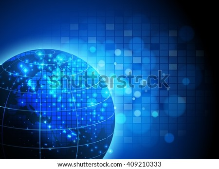 Abstract technology circuit board with world Vector background - stock vector
