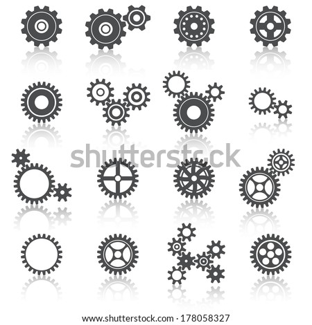 Abstract technology cogs wheels and gears icons set vector illustration - stock vector