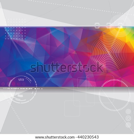 Abstract technology design with colorful geometric shapes background.  - stock vector