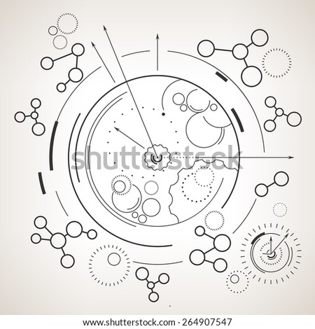 Abstract technology geometric background,  circles and nodes, hours with arrows, abstract data type, black and white vector illustration - stock vector