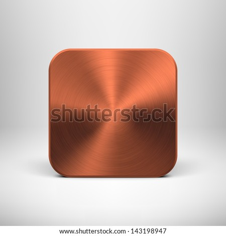 Abstract technology icon (button) template with bronze metal texture (stainless steel, chrome, cuprum), realistic shadow and light background for user interfaces (UI), applications (apps). Vector. - stock vector