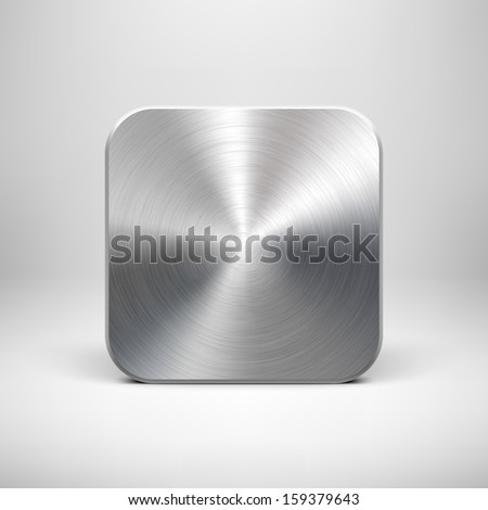 Abstract technology icon (button) template with metal texture (stainless steel, chrome, silver), realistic shadow and light background for user interfaces (UI), applications (apps) and presentations. - stock vector