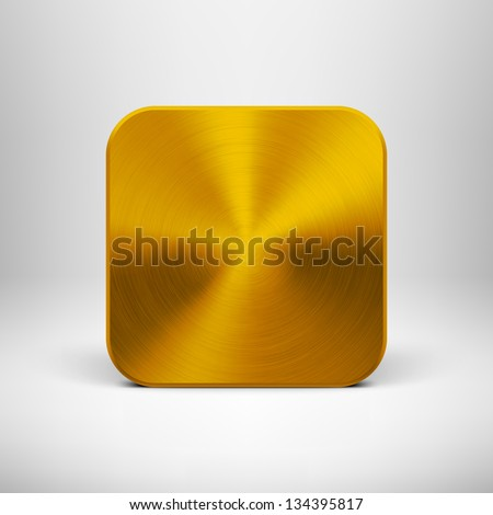 Abstract technology icon (button) with gold metal texture (stainless steel, chrome, silver), realistic shadow and light background for web user interfaces (UI) and applications (apps). Vector. - stock vector