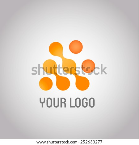 Abstract Technology logo design template. Molecule, nanotechnology, dna theme. Creative concept icon. Corporate company identity. Vector EPS 10 - stock vector