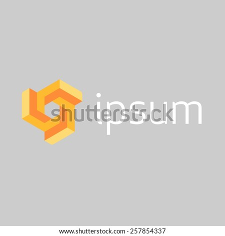 Abstract Technology logo template. Block looped symbol. Vector icon.  - stock vector