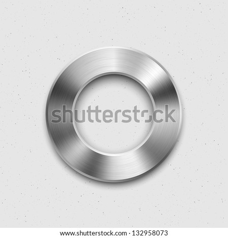 Abstract technology music button (volume banner, sound control knob) with metal texture (steel, chrome, silver), shadow and light background for web user interfaces (UI) and applications (apps). - stock vector