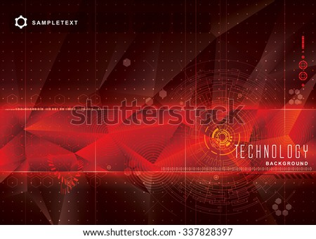 Abstract technology red background design.  - stock vector