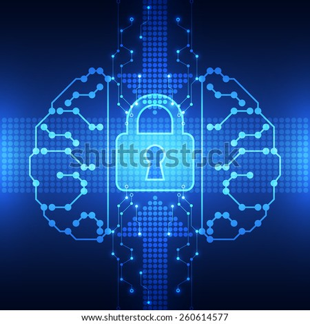 Abstract technology security on network background, vector illustration - stock vector