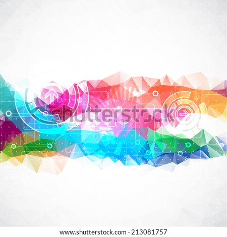 Abstract Technology Triangle  Background - stock vector