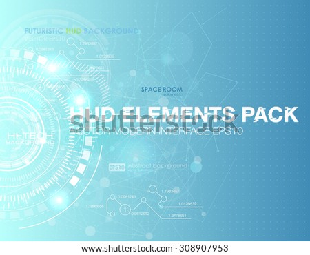 Abstract technology vector background. HUD UI  communication concept banner in blue background  - stock vector