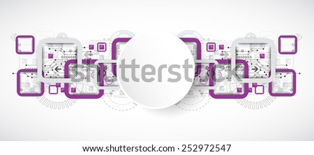 Abstract technology violet square background - stock vector