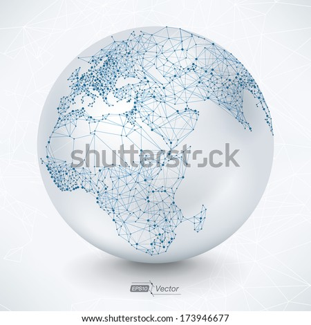 Abstract Telecommunication Earth Map Communication concept - EPS10 vector design - stock vector