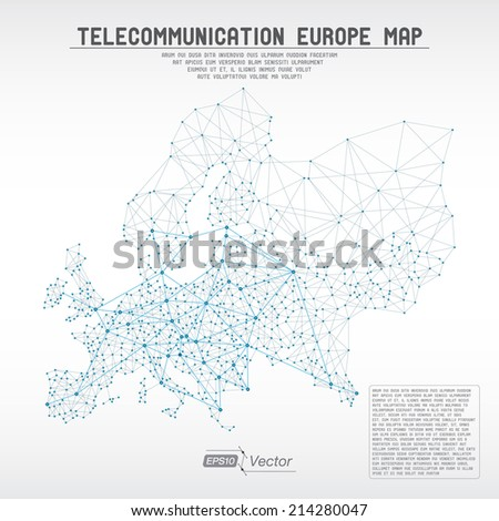Abstract telecommunication world map with circles, lines and gradients - stock vector