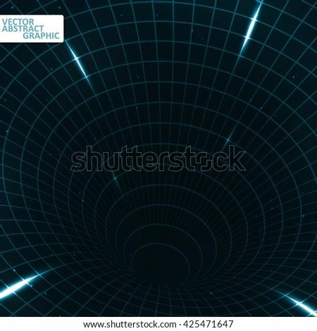 Abstract teleportation futuristic illustration, creative dynamic element, vector eps10 - stock vector