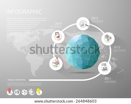 Abstract template, Earth low poly style with flat icons set. Can be used for workflow layout, banner, diagram, web design, infographic Vector Eps10 - stock vector