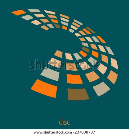 Abstract template of logo with rotating disk divided into rectangular sectors on a sherpa blue background. Vector - stock vector