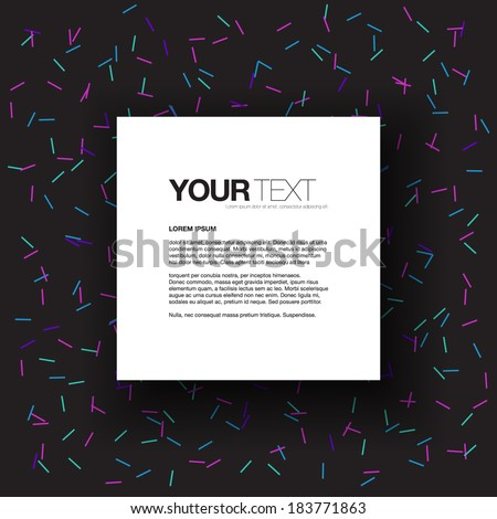 Abstract text box design with colorful sticks pattern background  Eps 10 stock vector illustration  - stock vector