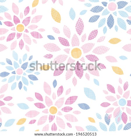 Abstract textile colorful flowers seamless pattern background - stock vector