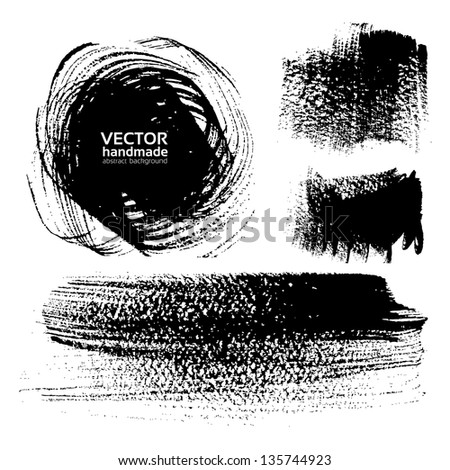Abstract textured brush strokes on white - stock vector