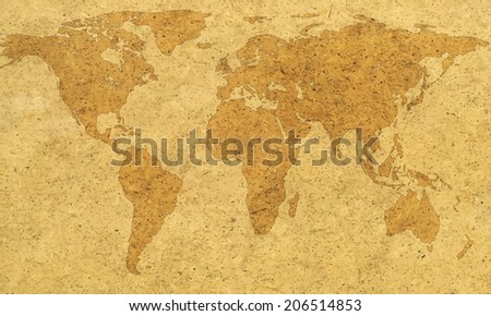 Abstract textured map of the world. Elements of this image furnished by NASA  - stock vector