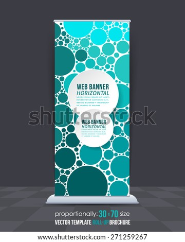 Abstract Theme Sea Blue Colors Elements Business Roll-Up Banner Design, Advertising Vector Template  - stock vector