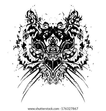 Abstract tiger head  retro vector illustration black and white - stock vector