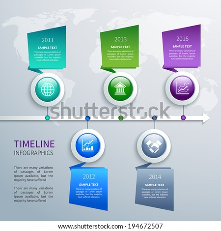Abstract timeline infographics design template with time arrow round buttons and business icons vector illustration - stock vector