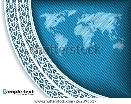 Abstract tire track background design with scribbled world map - stock vector